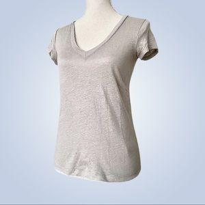 J.CREW Silver Linen V-Neck Short Sleeve Tee XXS